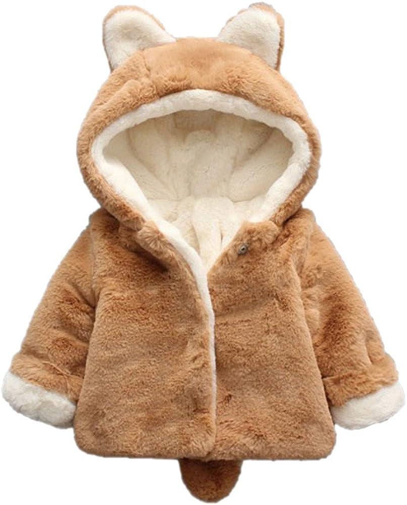 Ssowun Infantile Neonata Giacca del Mantello Cappotto con Orecchie di Coniglio,Invernali Vestiti Caldi Cotone per Bimba