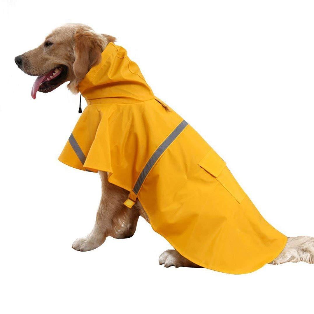 Yellow XL Yellow XL Cipway Pet Clothes Dog Raincoat Waterproof&Breathable Rain Jacket Hooded Puppy Rainwear Coat With Strip Reflective (XL, Yellow)