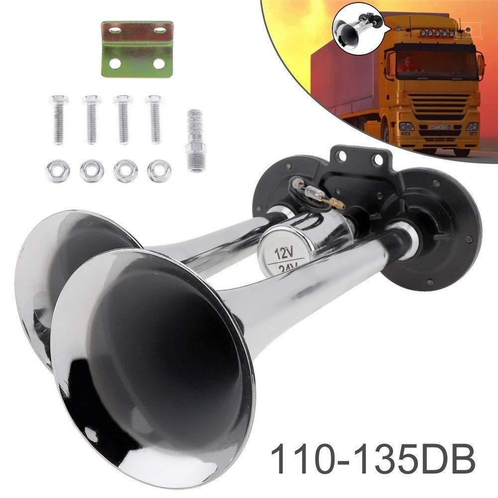 12V/24V 110-135dB Super Loud Dual Tone Trumpet Auto Car Air Horn Set Car Auto Loudspeaker For Boat Train Car Vehicle Auto (Color : Chrome-12V) by XIAOLAOBIAO