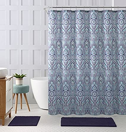 Blue Teal Purple Cloth Fabric Shower Curtain Floral Paisley Print Design 72quot X