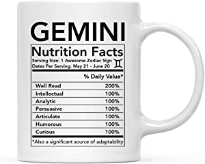 Andaz Press Astrological Zodiac Star Sign 11oz. Coffee Mug Gift, Gemini Characteristics Nutritional Facts, 1-Pack, Horoscope Gemini Birthday Christmas Office Cup Gifts Ideas