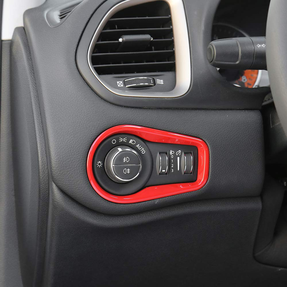 JeCar ABS Headlight Fog Light Control Switch Panel Trim Bezel Cover for Jeep Renegade 2016-2018 Red