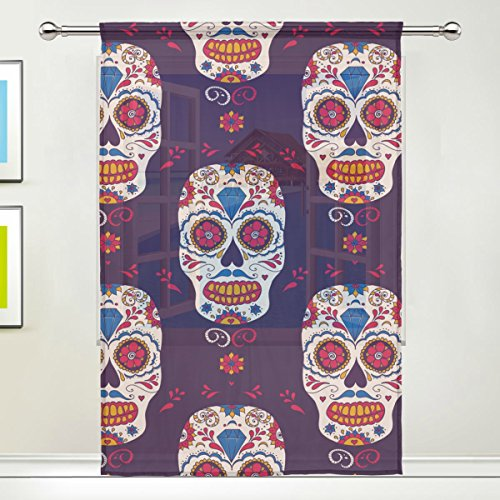 Costumes Grateful Purple Dead Hoodie Bear Teen (Sugar Skull Dia De Los Muertos Window Sheer Curtain Panels, 55x78 inch, Gauze Curtain for Living Room Bedroom Home)