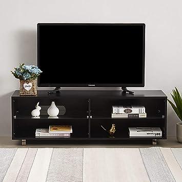 Keinode - Mueble de TV LED Moderno con 4 estantes, Mueble de Almacenamiento para Sala de Estar, Dormitorio, Oficina, 120 cm Negro: Amazon.es: Electrónica