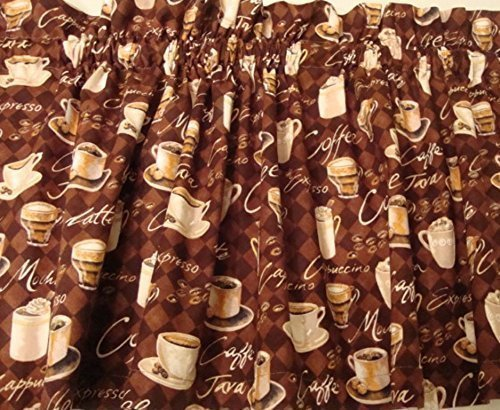 Window Valance Latte - Valance with Coffee Latte Cappuccino Theme on Brown Window Treatment Topper Curtain