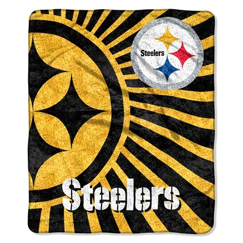 Officially Licensed NFL Pittsburgh Steelers Strobe Sherpa on Sherpa Throw Blanket, 50