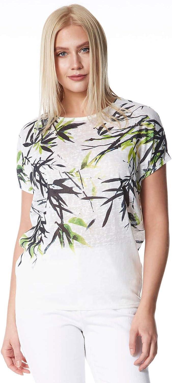 Roman Originals - Camiseta de manga corta con estampado de hojas tropicales para mujer