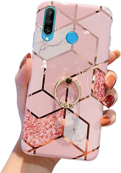 MoreChioce Coque Huawei P30 Lite,compatible avec Coque Huawei P30 Lite Gold,Jolie Géométrie Bling Diamond Coque en Silicone avec Anneau Housse de ...