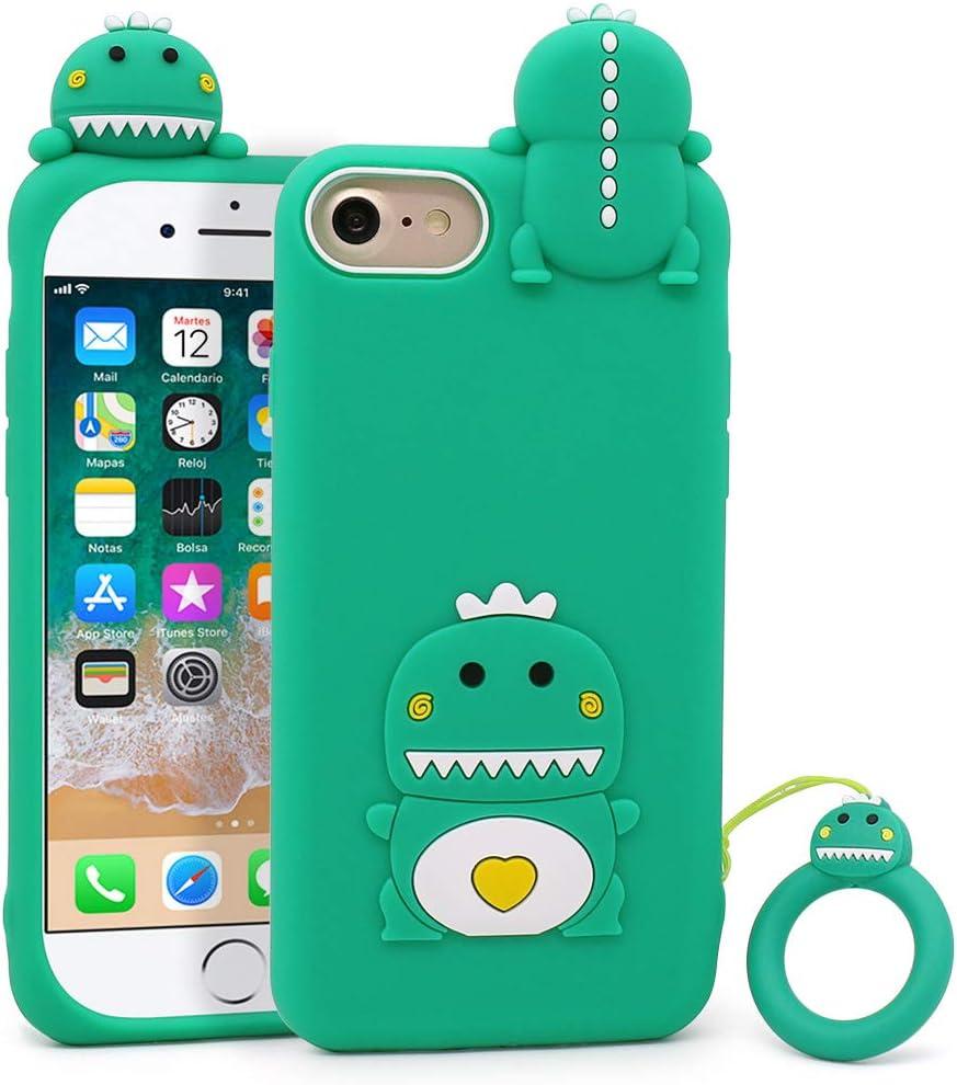 Megantree Cute iPhone SE 2020 case, iPhone 6 Case, iPhone 6s Case, iPhone 7 Case, iPhone 8 Case, Funny Animals Green Little Dinosaur Soft Silicone 3D ...
