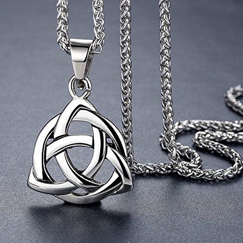 Stainless Steel Celtic Knot Irish Triquetra Lucky Love Pendant (Large) Necklace, 24 Chain, aap126 by Aoiy