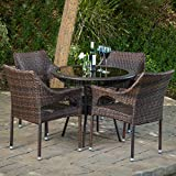 Del Mar Outdoor Multibrown Wicker 5pc Dining Set