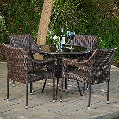 "Christopher Knight Home Del Mar Outdoor Multibrown Wicker 5pc Dining Set - Chair: 24"" D x 24"" W x 32.25"" H, Seat: 18.25"" D x 18.5"" W x 16.50"" H, Table: 34"" D x 34"" W x 28.70"" H Constructed with multibrown PE wicker on a metal frame 5pc set includes 4 chairs and 1 round glass table top - patio-furniture, dining-sets-patio-funiture, patio - 61t%2B%2BL1mtHL. SS400  -"