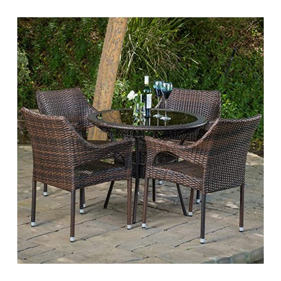 "Christopher Knight Home Del Mar Outdoor Multibrown Wicker 5pc Dining Set - Chair: 24"" D x 24"" W x 32.25"" H, Seat: 18.25"" D x 18.5"" W x 16.50"" H, Table: 34"" D x 34"" W x 28.70"" H Constructed with multibrown PE wicker on a metal frame 5pc set includes 4 chairs and 1 round glass table top - patio-furniture, dining-sets-patio-funiture, patio - 61t%2B%2BL1mtHL. SS570  -"