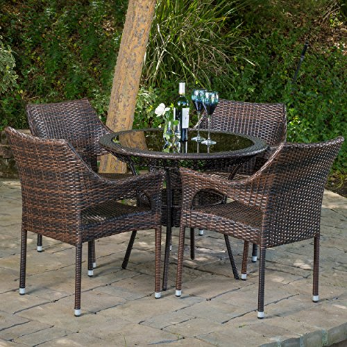 Del Mar Outdoor Multibrown Wicker 5pc Dining Set For Sale
