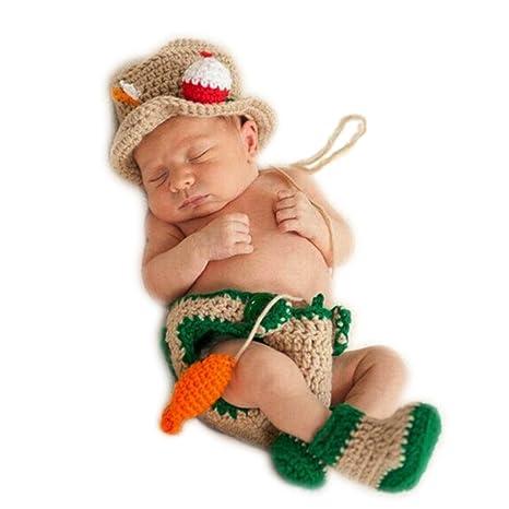 Hecho a mano bebé recién nacido bebé niña niño ganchillo Knit ...
