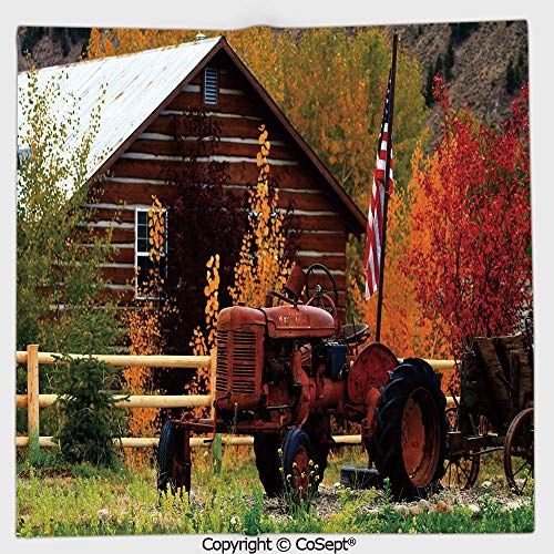 (AmaUncle Microfiber Square Towel,Rustic Cabin with Rusty Tractor Country Cottage House Seasonal Colors US Flag Loyalty,Suitable for Camping,Running,Cycling,Gym(19.68x19.68)