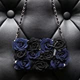 Spritech(TM) Fashion Women Elegant Blue Roses Decor Case Luxury PU Leather Wallet Case Flip Cover with Strap for Samsung Galaxy S6 Edge
