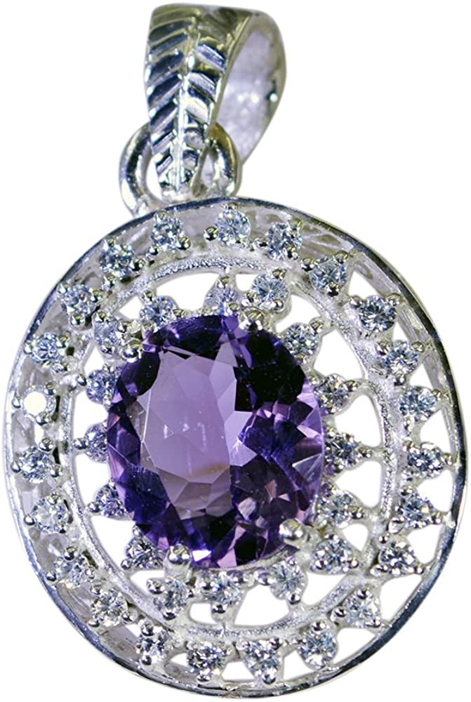Gemsonclick Natural Amethyst Pendant for Women Silver Birthstone Round Shape Faceted Cut Fashion Jewelry Necklace