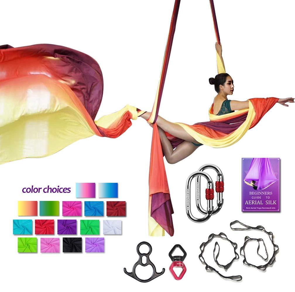 Aerial Silks Deluxe Equipment Set for Aerial Yoga, Aerial Yoga Hammock, Aerial Acrobatic,Circus Arts, Aerial Dance(L:10m W:2.8m (Gradual Change Red)