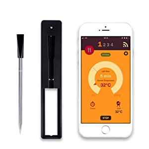 Wireless Meat Thermometer, Smart Over 33ft Instant Read Digital Cooking Food Thermometer for Oven Grill Kitchen BBQ Smoker Rotisserie with Bluetooth & WiFi Digital Connectivity