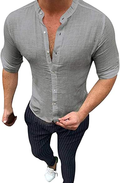 VJGOAL Camisa de hombre Slim Fit Lino Camiseta de hombre blanca cuello redondo Camiseta de hombre
