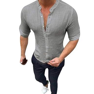 VJGOAL Camisa de hombre Slim Fit Lino Camiseta de hombre blanca ...