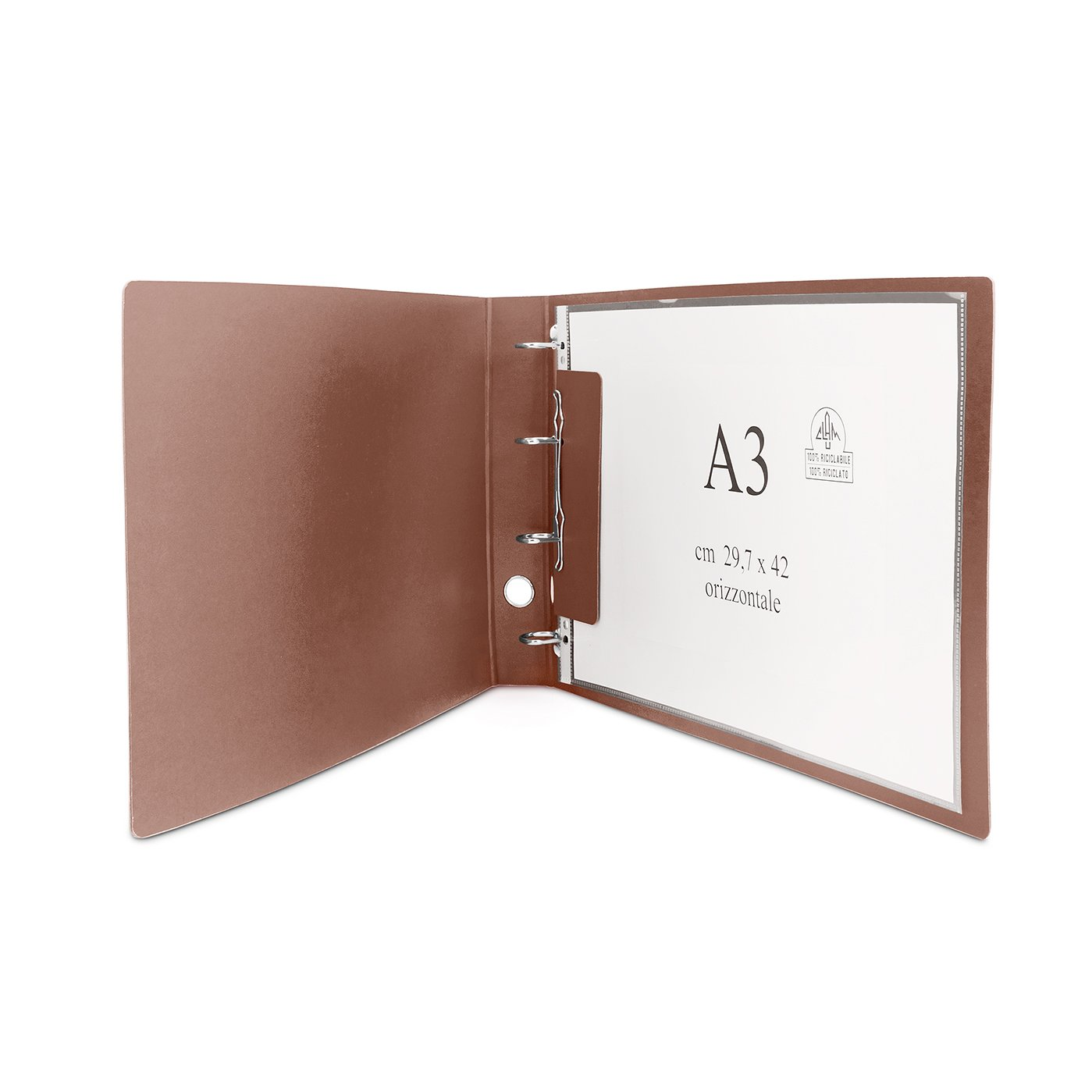 CLAM Raccoglitore orizzontale per fogli e buste A3 nel formato massimo cm 30, 5 x 42. Meccanismo ad anelli. Dorso 5 cm.