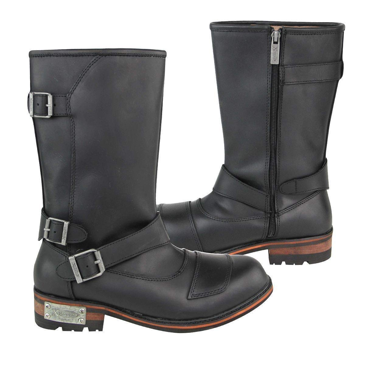9 Xelement LU9605 Mens Black Three Buckle with Shifter Pad Motorcycle Engineer Boots