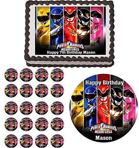 POWER RANGERS Edible Birthday Party Cake Topper Cupcake Image Decoration (1.5 ( 30 )) by (Power Rangers Birthday Cake)