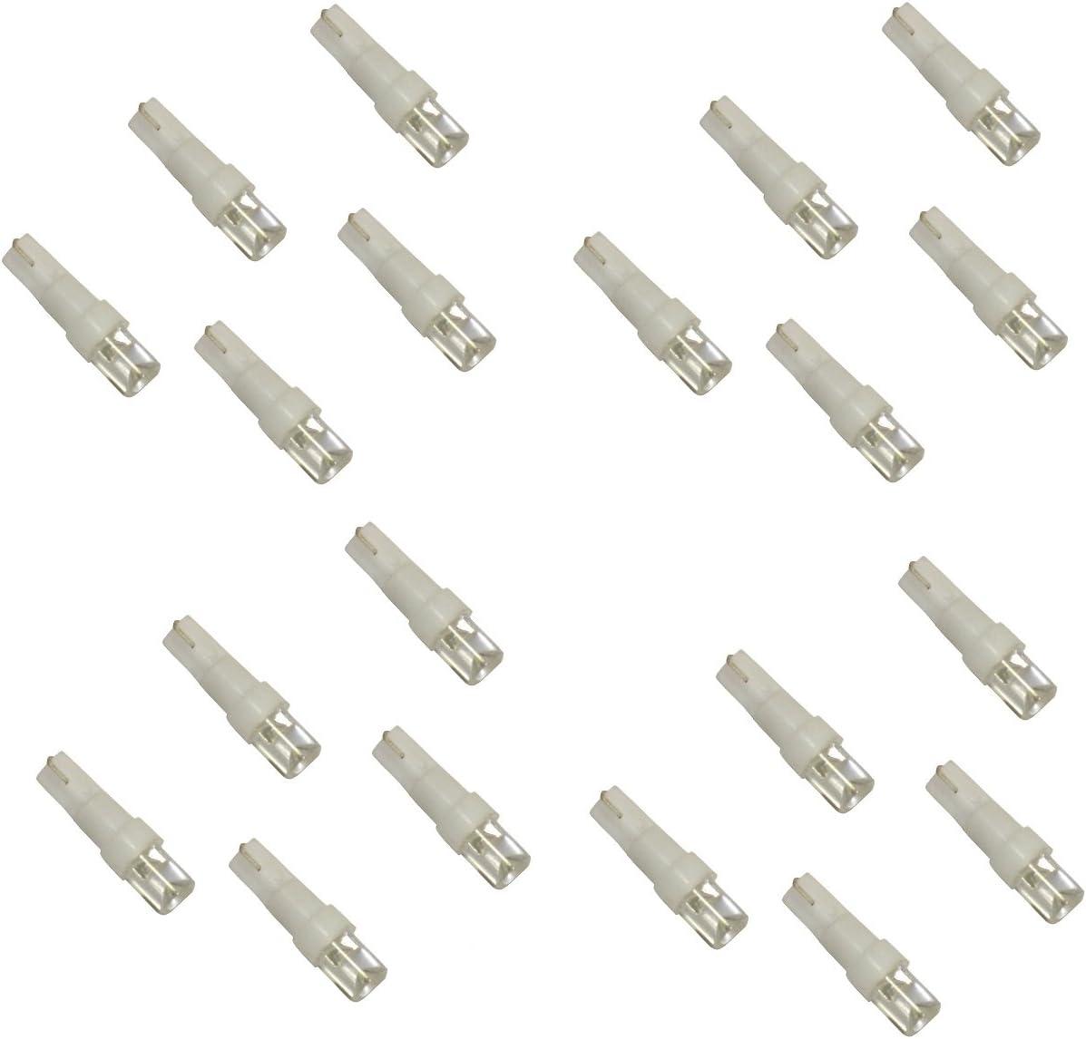 Vert, 20 pi/èces T5 12V 1 LED AERZETIX: Lot dampoules pour /éclairage instruments de tableau de bord Couleurs vari/ées