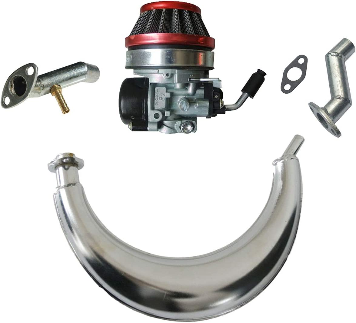HGC Red Air Filter & Muffler Exhaust Pipe & Carburetor & Intake Manifold & Carburetor Intake Manifold Fits 49cc 66cc 80cc 2 Stroke Engine Motorized Bicycle Bike