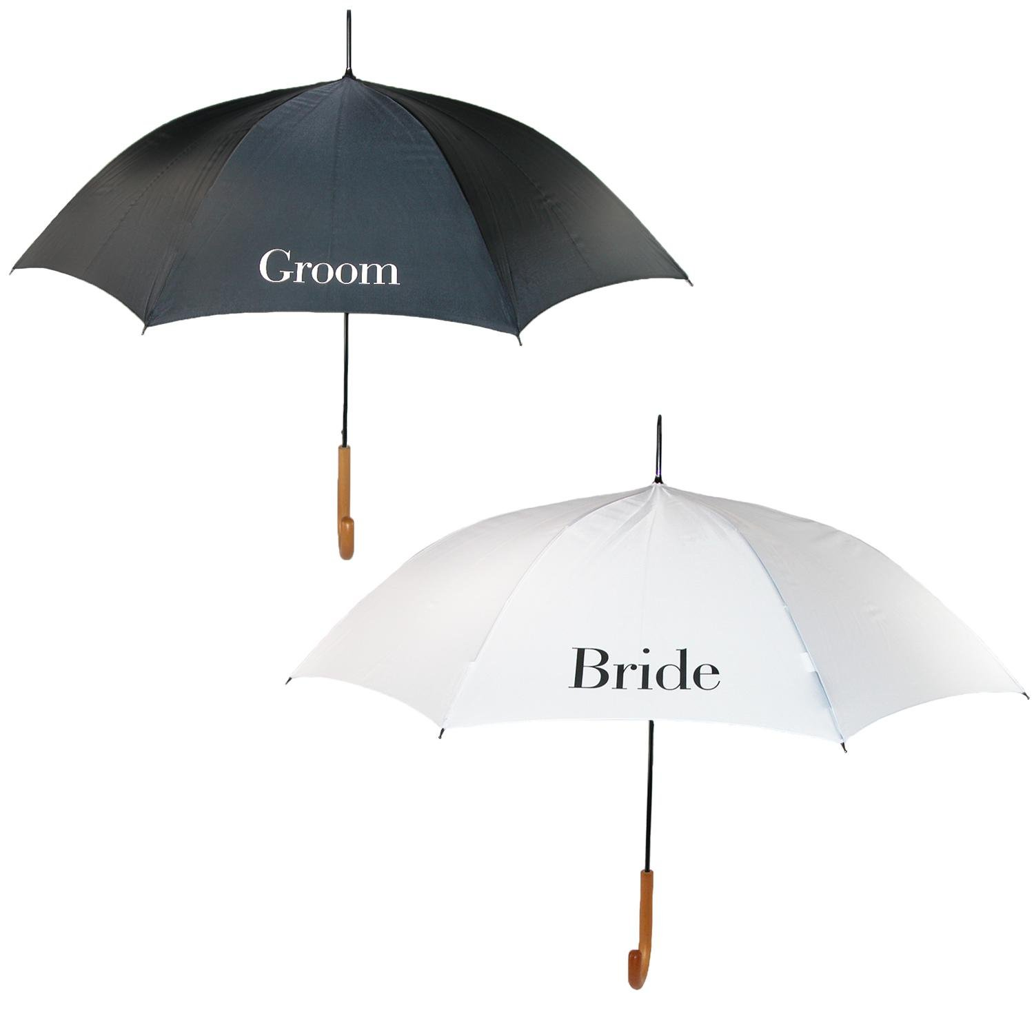 ShedRain Bride and Groom Wedding Stick Umbrellas with Hook Handle (2 Pack)