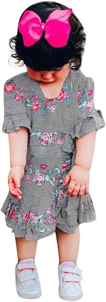 SSZZoo Toddler Kid Baby Girl Dress Bell Sleeve Striped Floral Printed Ruffle Irregular Clothing