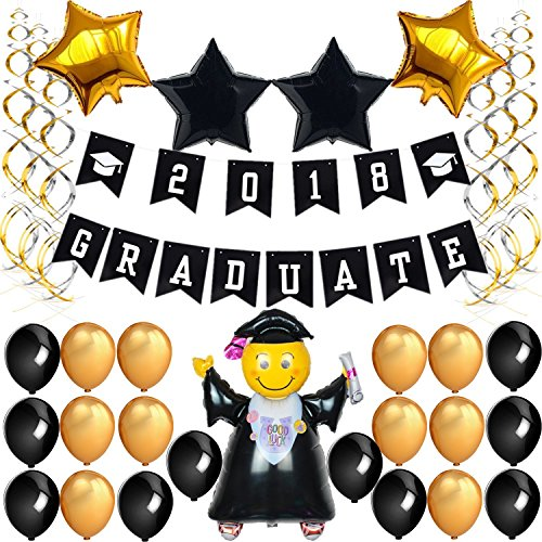 GraduationMall Graduation Decorations Graduate 2018 Banner 20 Black & Gold Latex Balloons 4 Star Foil Balloons Package with 12 Silver & Gold Hanging Swirl for Graduation Party Supplies