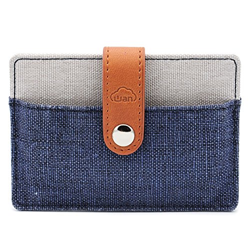 Fabric Credit Card Holder (Holder for Business Cards and Credit Cards | 2 Pocket Design for 6-12 Cards | Secure with PU Leather Strap (Denim Grey))