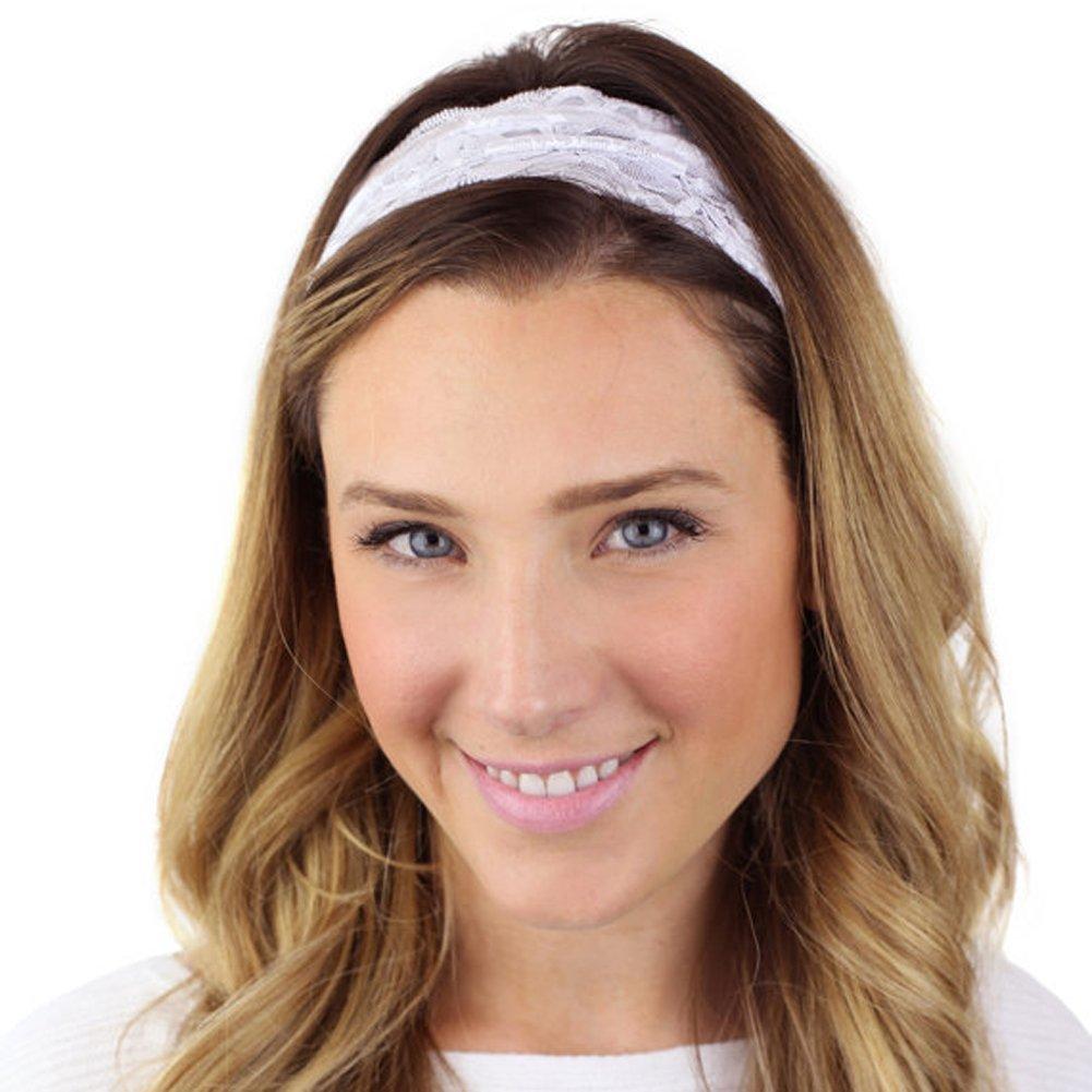 TININNA Vintage elegante elastico pizzo ritorto wrap testa Turbante Hairband Fascia per capelli Cerchietti Accessori per capelli Bianco