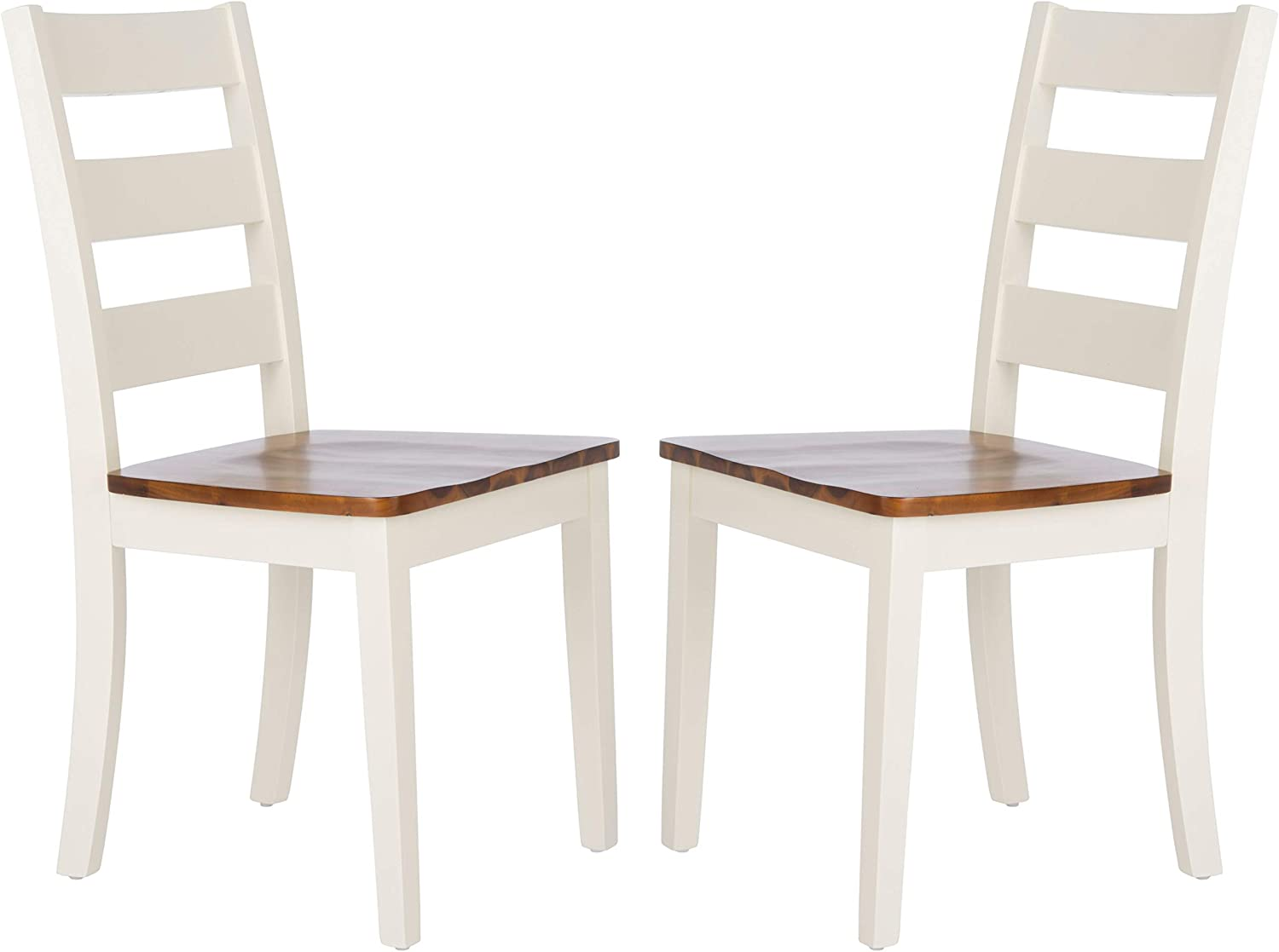 Safavieh Home Collection Silio White and Natural Ladder Back 18-inch Dining Chair (Set of 2)
