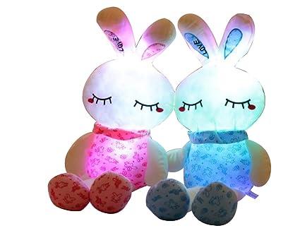 EZ Life Illuminating 7 Color LED Light - Bunny Pillow Plush Toy - Plush and Soft Toy - Pink