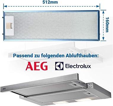 Filtro de grasa de metal como AEG 405534414/9 4055344149 512 x 160 mm para campana extractora: Amazon.es: Hogar