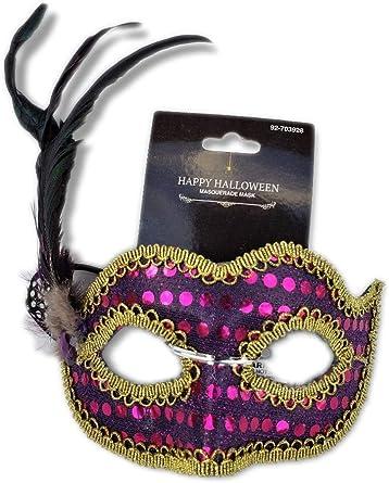 Purple Glittery Butterfly Mask Mardi Gras Halloween Black Elastic Band.