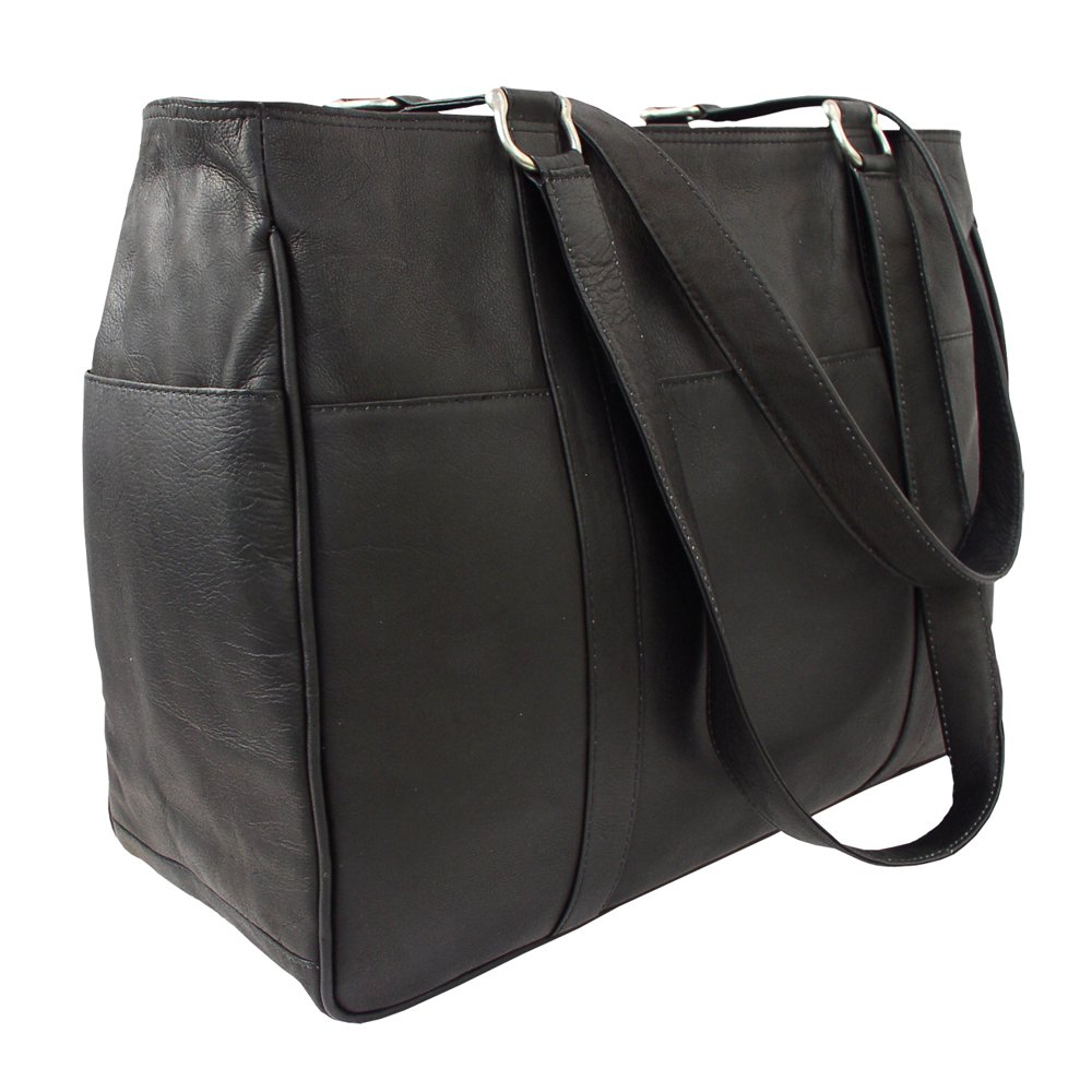 Piel Leather Medium Shopping Bag, Black, One Size