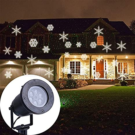 White snowflake projector waterproof outdoor christmas lights led white snowflake projector waterproof outdoor christmas lights led laser light romantic lawn lamps for home decoration aloadofball Choice Image