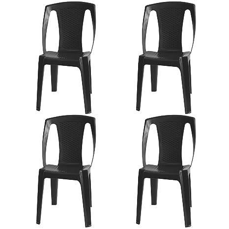 4 pieza silla apilable con efecto de ratán Jardín Silla de jardín ...