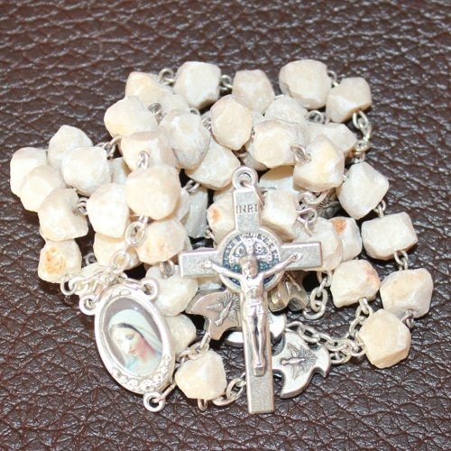MEDJUGORJE - Rosary Made from Apparation Hill Stones and Shipped Directly from MEDUGORJE. (20 inches Long) - Silver Cross (54 Day Rosary Novena To Our Lady)