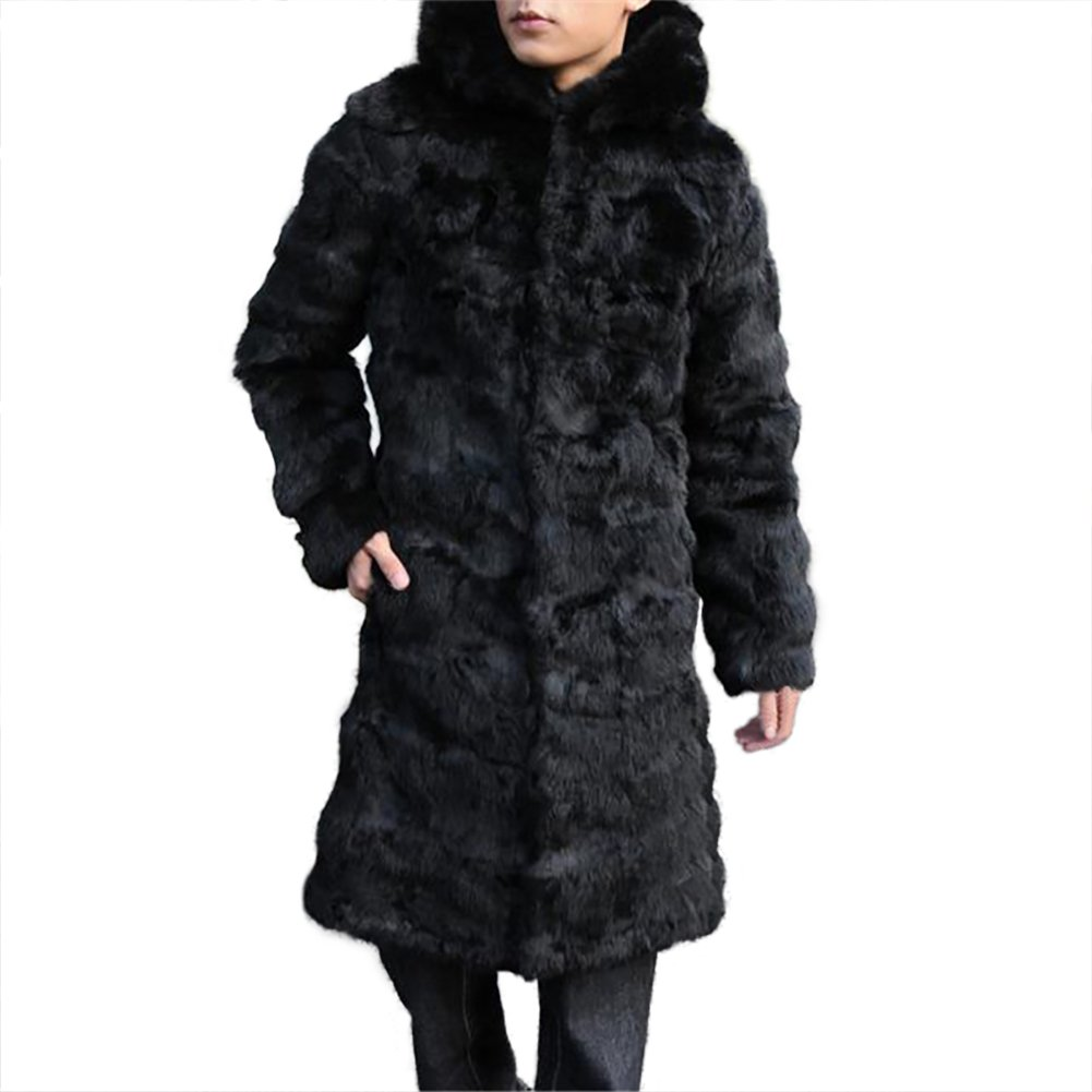 SPRINGWIND Men Fur Coat, Real Rabbit Fur Long Winter Jacket Warm Slim Overcoat With Hood