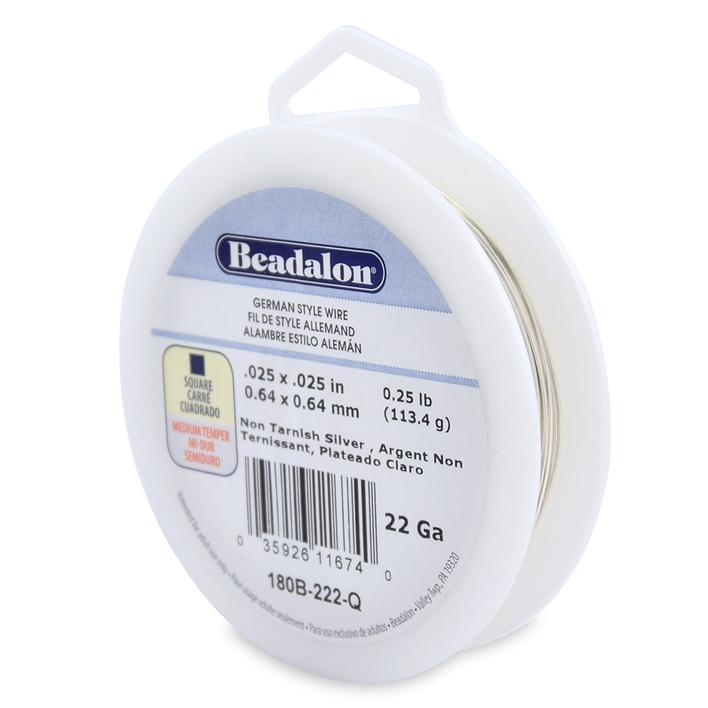 Beadalon 22-Gauge Tarnish Resistant Silver Plate Square Wire, 1/4-Pound