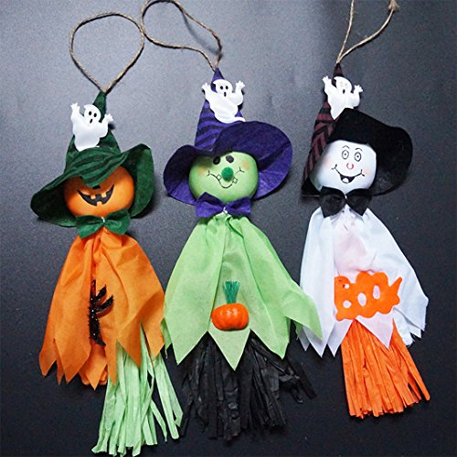 Rosa Schleife Halloween Tassel Garland Hanging Decoration, Funny Ghost Pumpkin Cloth Doll Spider Pattern Banner String Lanyard Nice Gifts for Home Party Festival Pub Bar Outdoor (Halloween Doll Patterns)