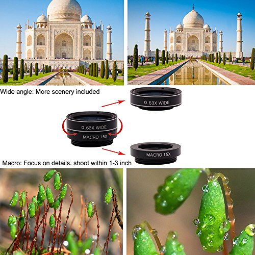 11 in 1 Cell Phone Camera Lens Kit Wide Angle Lens & Macro Lens+Fisheye Lens+Telephoto Lens+CPL/Flow/Radial/Star/Soft…