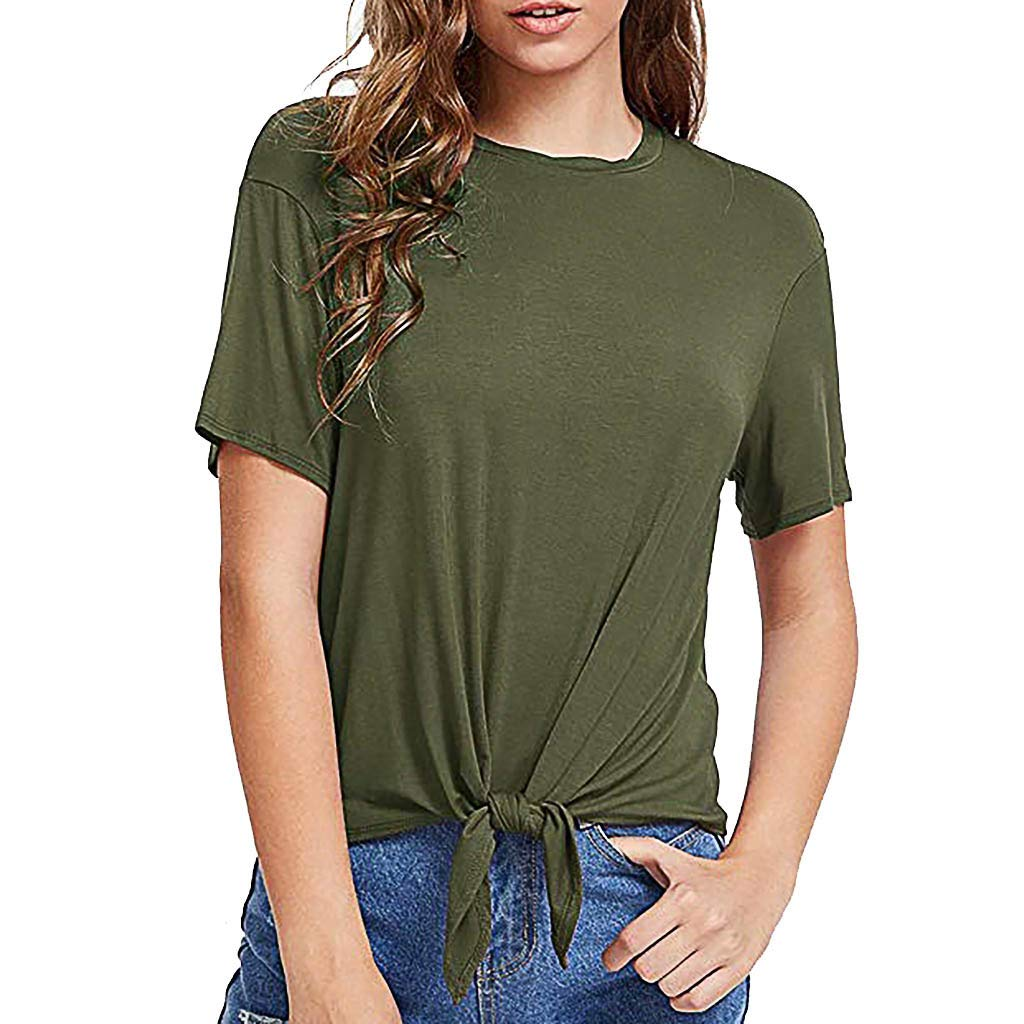 DAYPLAY Fashion Womens Casual T-Shirt O-Neck Short Sleeve Solid Bandage Tie Tops Tee 2019 Sale Summer Army Green