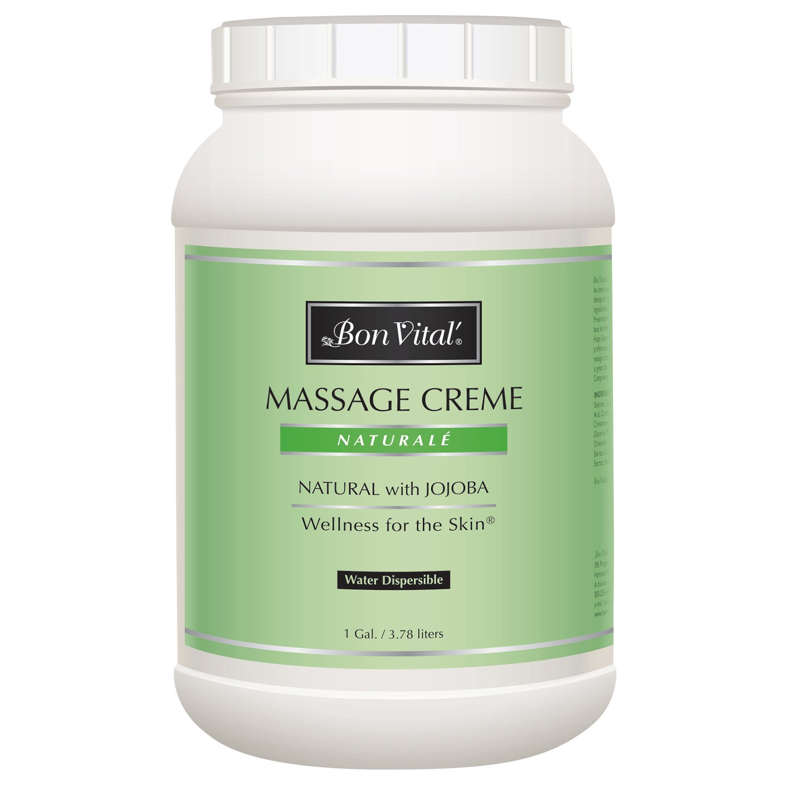 Bon Vital' Naturale Massage Crème, Professional Massage Therapy Cream with Natural Ingredients for an Earth-Friendly & Relaxing Massage, Full Body Daily Moisturizer for Smooth Skin, 1 Gallon Jar by Biofreeze (Image #1)